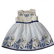 Одежда детская handmade. Livemaster - original item Elegant dress for a girl with blue butterflies, height 92. Handmade.