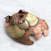 Украшения handmade. Livemaster - original item BULLDOG: copper, nickel silver and brass brooch. Handmade.