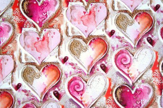 """Упаковка ручной работы. Ярмарка Мастеров - ручная работа. Купить бумага упаковочная """"Сердечки розовые"""" лист 70х100 см. Handmade."""
