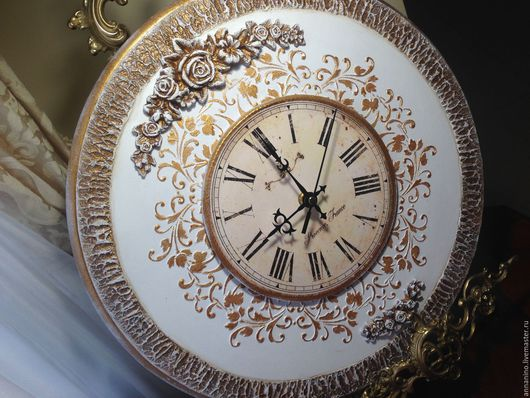Часы для дома ручной работы. Ярмарка Мастеров - ручная работа. Купить Часы настенные по мотивам Благородная классика. Handmade. Часы