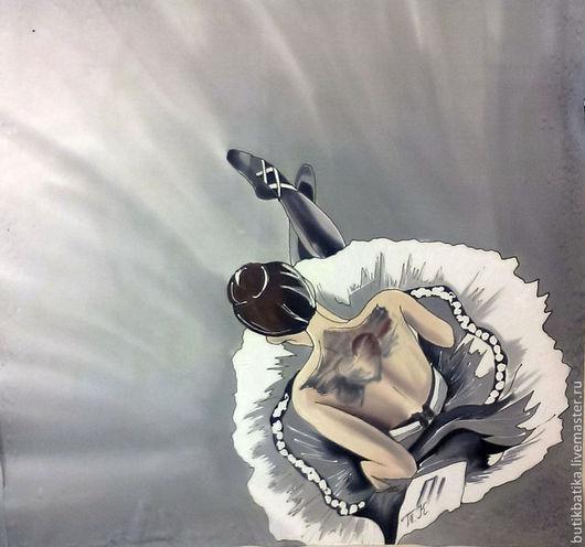 Шали, палантины ручной работы. Ярмарка Мастеров - ручная работа. Купить Шелковый платок Балерина. Handmade. Серебряный, балерина
