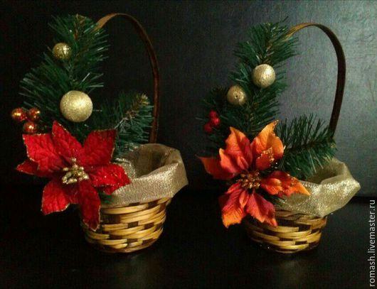 Персональные подарки ручной работы. Ярмарка Мастеров - ручная работа. Купить корзинка Новогодняя. Handmade. Интерьерная композиция, новогодний