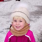 Аксессуары ручной работы. Ярмарка Мастеров - ручная работа Шапка детская  зимняя «Снежинка»  вязанная из собачьего пуха  .Комплек. Handmade.