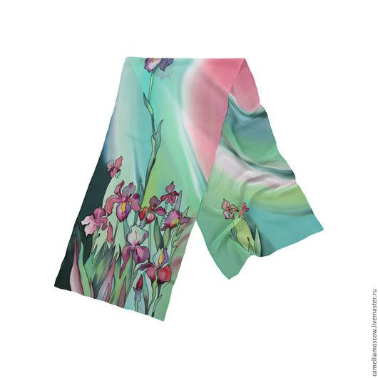 Шарфы и шарфики ручной работы. Ярмарка Мастеров - ручная работа. Купить Батик Шелковый шарф Ирисы 175х36 см зеленый. Handmade.