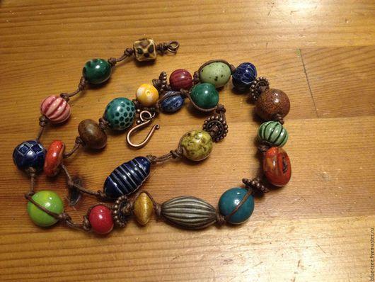 """Колье, бусы ручной работы. Ярмарка Мастеров - ручная работа. Купить Бусы """"Разноцветная керамика"""".. Handmade. Разноцветный, керамика"""