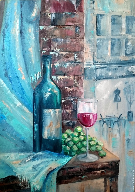 """ручной работы. Ярмарка Мастеров - ручная работа. Купить Натюрморт """"Ожидание"""". Handmade. Голубой, виноград, картина маслом, картина на холсте"""