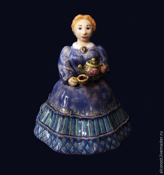 """Колокольчики ручной работы. Ярмарка Мастеров - ручная работа. Купить колокольчик """" Барыня с чайником"""". Handmade. Синий, барышня"""