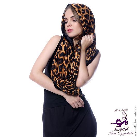 Дизайнер Анна Сердюкова (Дом Моды SEANNA).  Снуд, шарф, хомут двусторонний `Леопардово-бархатный`. Безразмерный. Цена - 3950 руб.