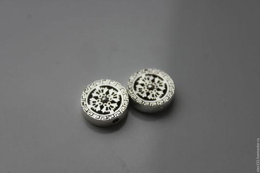 Для украшений ручной работы. Ярмарка Мастеров - ручная работа. Купить Серебро 925 Клубная бусина 12 х 3,4 мм. Handmade.