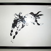 Картины и панно ручной работы. Ярмарка Мастеров - ручная работа картина лошадь За мечтой суми-е. Handmade.