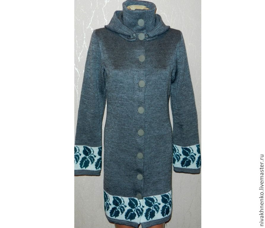 Outer Clothing handmade. Livemaster - handmade. Buy Knitted coat with hood.Grey, knitted cardigan, hooded coat