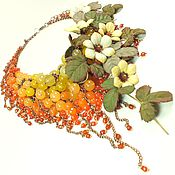 Украшения handmade. Livemaster - original item Tangerine Parfait. Necklace, flowers. Natural stones, leather. Handmade.