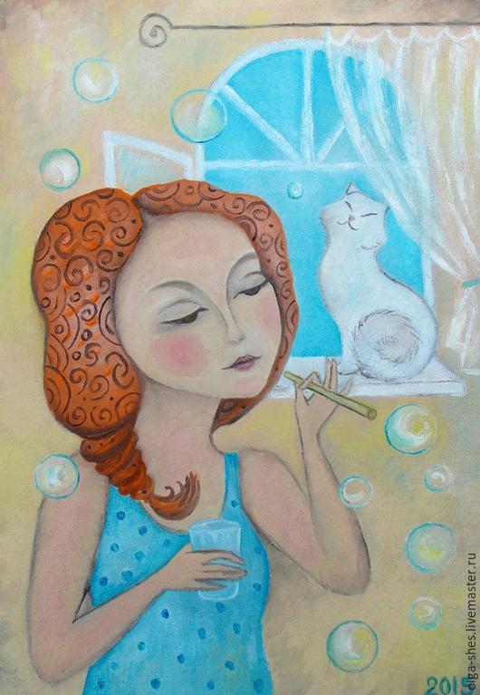 Фантазийные сюжеты ручной работы. Ярмарка Мастеров - ручная работа. Купить Утро мыльных пузырей..:)). Handmade. Картина в детскую