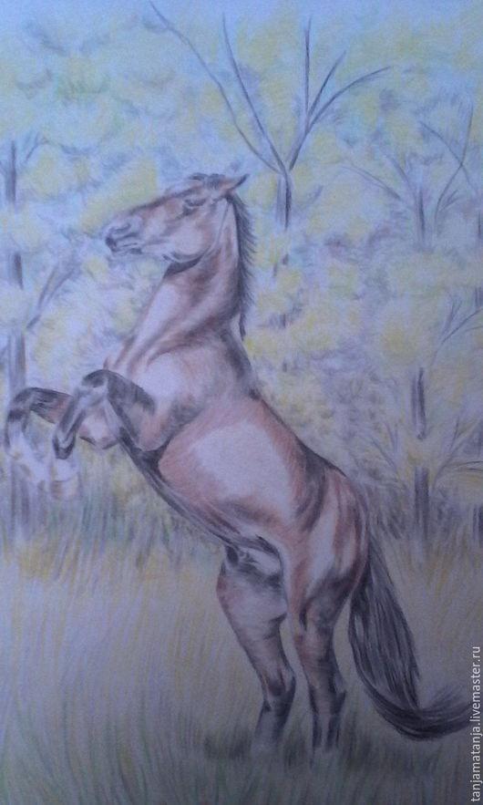 Животные ручной работы. Ярмарка Мастеров - ручная работа. Купить Рисунок Лошадь. Handmade. Лимонный, акварельная бумага, конь, лошади
