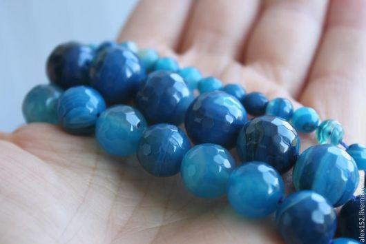 Для украшений ручной работы. Ярмарка Мастеров - ручная работа. Купить Агат натуральный тонированный сине голубой  6 мм. Handmade.