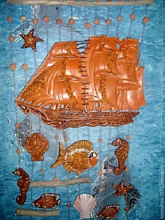 Подвески ручной работы. Ярмарка Мастеров - ручная работа. Купить Парусник и море панно на стену керамика  морская тема,море.. Handmade.