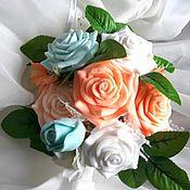 Мыльный букет с Розами в белом кашпо