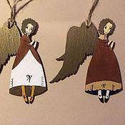 Подарки к праздникам ручной работы. Ярмарка Мастеров - ручная работа Ангел новогодний - золотой и красный. Handmade.
