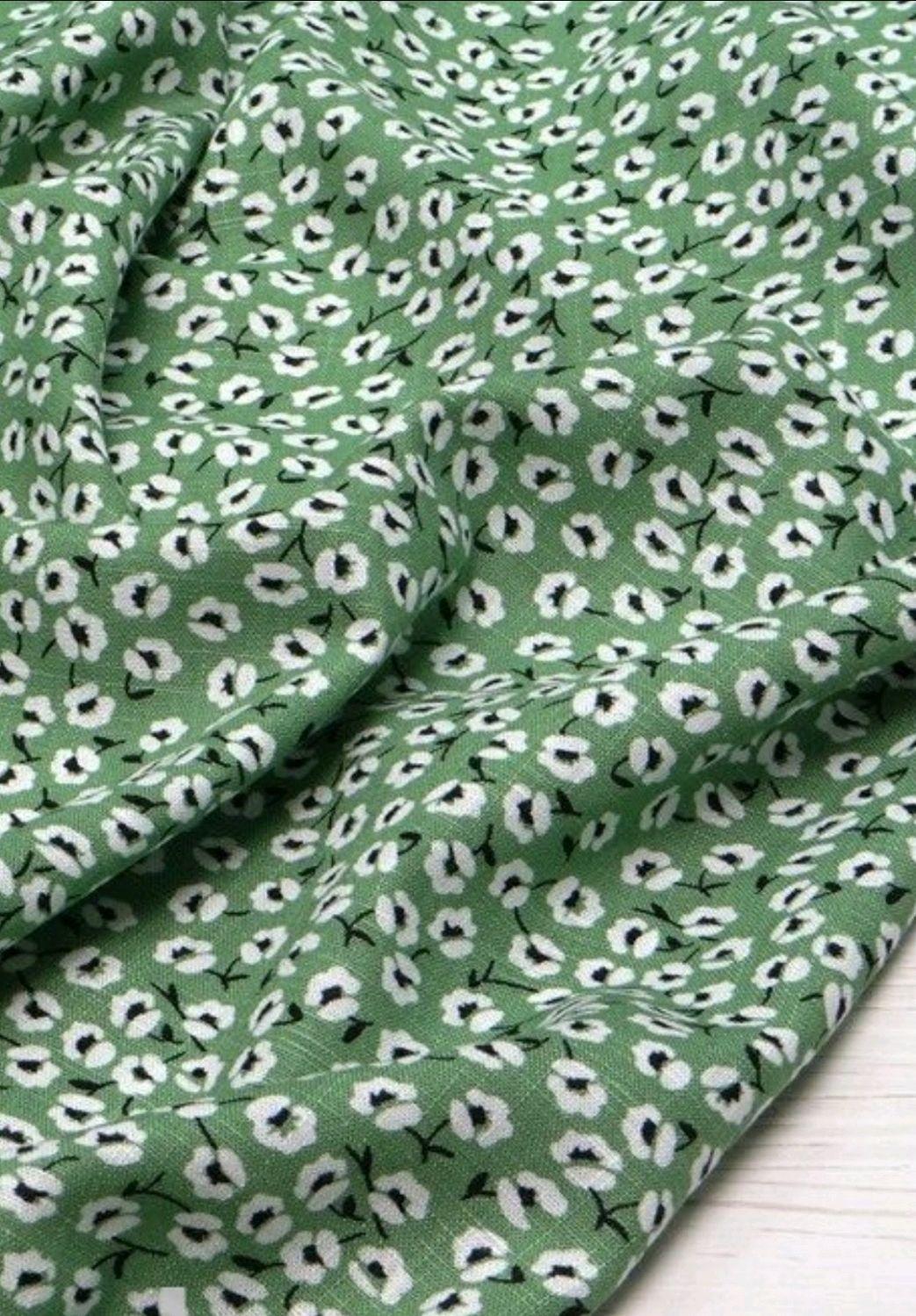 Ткань натуральная лён с вискозой  цветы АН 01.1, Ткани, Москва,  Фото №1
