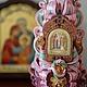 Резная свеча с иконой Петра и Февронии (куполообразная), 18 см, 1100р.