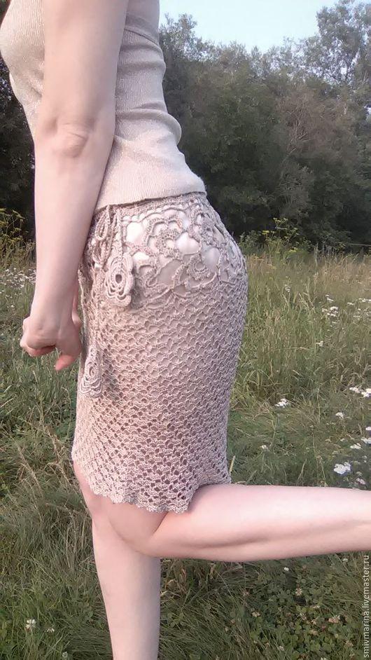 Юбки ручной работы. Ярмарка Мастеров - ручная работа. Купить юбка летняя Ажурный соблазн. Handmade. Бежевый, одежда для женщин