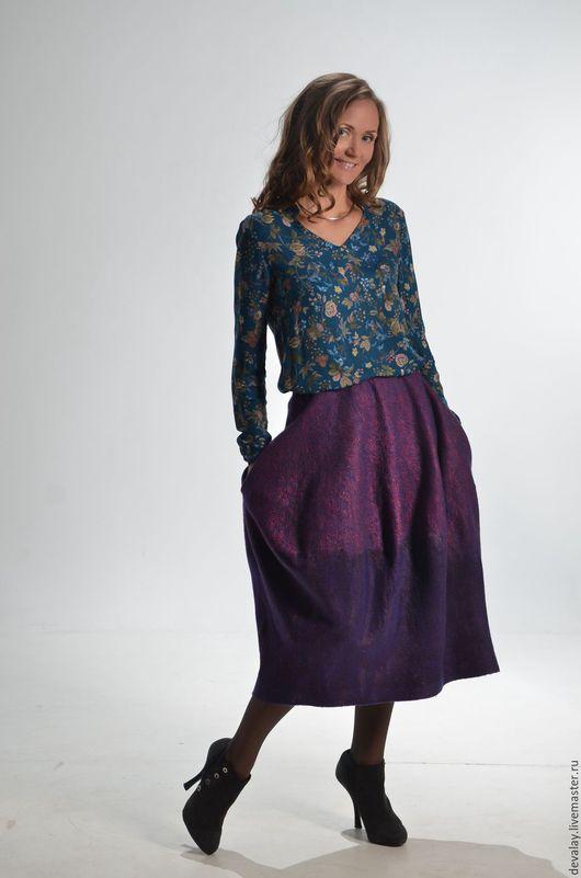 Юбки ручной работы. Ярмарка Мастеров - ручная работа. Купить Валяная юбка голландский тюльпан. Handmade. Фиолетовый, волокна вискозы