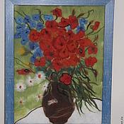 """Картины и панно ручной работы. Ярмарка Мастеров - ручная работа Картина войлочная """"Маки"""". Handmade."""