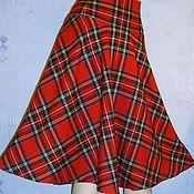 Одежда ручной работы. Ярмарка Мастеров - ручная работа Юбка-миди на высоком поясе- кокетке из шотландки. Handmade.