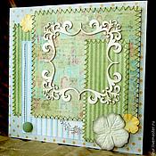 Открытки ручной работы. Ярмарка Мастеров - ручная работа Открытка в зеленых тонах. Handmade.