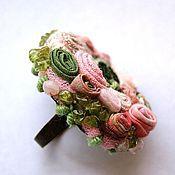 """Украшения ручной работы. Ярмарка Мастеров - ручная работа кольцо """"Розово-зеленое"""", с хризолитом и розовым кварцем. Handmade."""
