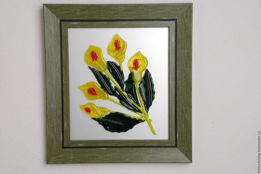 """Картины цветов ручной работы. Ярмарка Мастеров - ручная работа. Купить Картина """" Желтые каллы"""". Handmade. Оливковый, белый"""