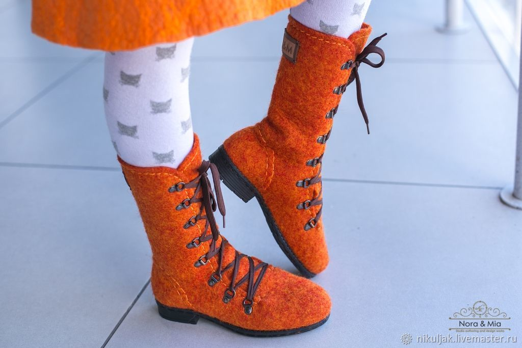 Felted boots for girls Orange, High Boots, Dnepropetrovsk,  Фото №1
