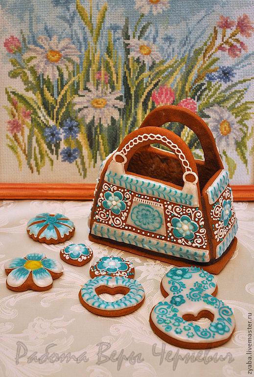 Кулинарные сувениры ручной работы. Ярмарка Мастеров - ручная работа. Купить Пряничная весенняя сумочка. Handmade. Бирюзовый, расписные пряники