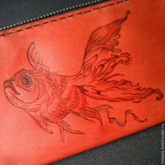 Кошельки и визитницы ручной работы. Ярмарка Мастеров - ручная работа. Купить Красный кошелек Золотая рыбка. Handmade. Ярко-красный