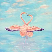 Картины ручной работы. Ярмарка Мастеров - ручная работа Танец фламинго. Handmade.
