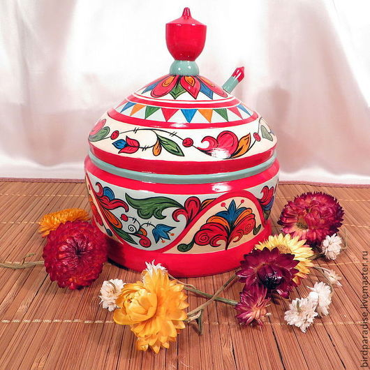 Декоративная деревянная расписная сахарница. Посуда для кухни.Кухонная утварь. Кухонный интерьер.