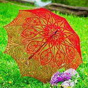 Свадебный салон ручной работы. Ярмарка Мастеров - ручная работа Красный ажурный зонт. Handmade.