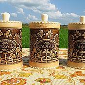 Для дома и интерьера handmade. Livemaster - original item A set of birch bark containers from bark Sunflowers D10. Jars for tea, sugar, salt. Handmade.
