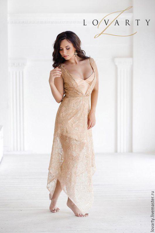Платья ручной работы. Ярмарка Мастеров - ручная работа. Купить Платье золотое. Handmade. Однотонный, платье кружевное