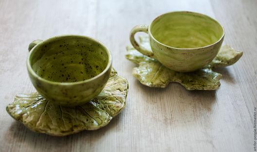 Сервизы, чайные пары ручной работы. Ярмарка Мастеров - ручная работа. Купить Сервизная чайная пара. Чашка с блюдцем-листиком. Handmade.