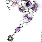 Украшения handmade. Livemaster - original item Author`s necklace with pendant made of charoite and the sun - natural stones. Handmade.