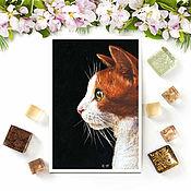 Открытки handmade. Livemaster - original item Postcard white-Faced kitty. Handmade.