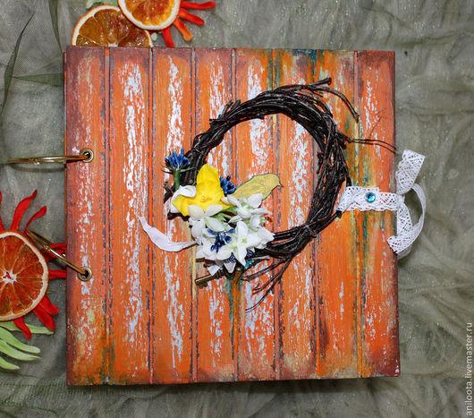 Фотоальбомы ручной работы. Ярмарка Мастеров - ручная работа. Купить Цветочный альбом.. Handmade. Оранжевый, подарок на день рождения, кружево