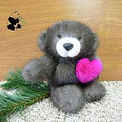 Куклы и игрушки handmade. Livemaster - original item Bear with a heart. The toy is made of natural mink fur. keychain. Handmade.