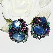 Украшения handmade. Livemaster - original item Earrings with kyanite, ruby, sapphire,emerald. Handmade.
