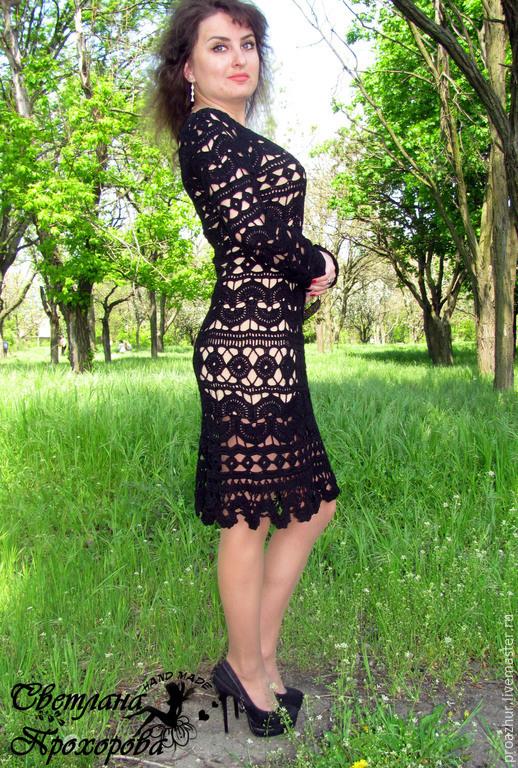 Черное ажурное платье крючком