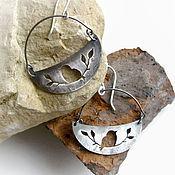 Серьги классические ручной работы. Ярмарка Мастеров - ручная работа серьги из серебра с птичками. Handmade.