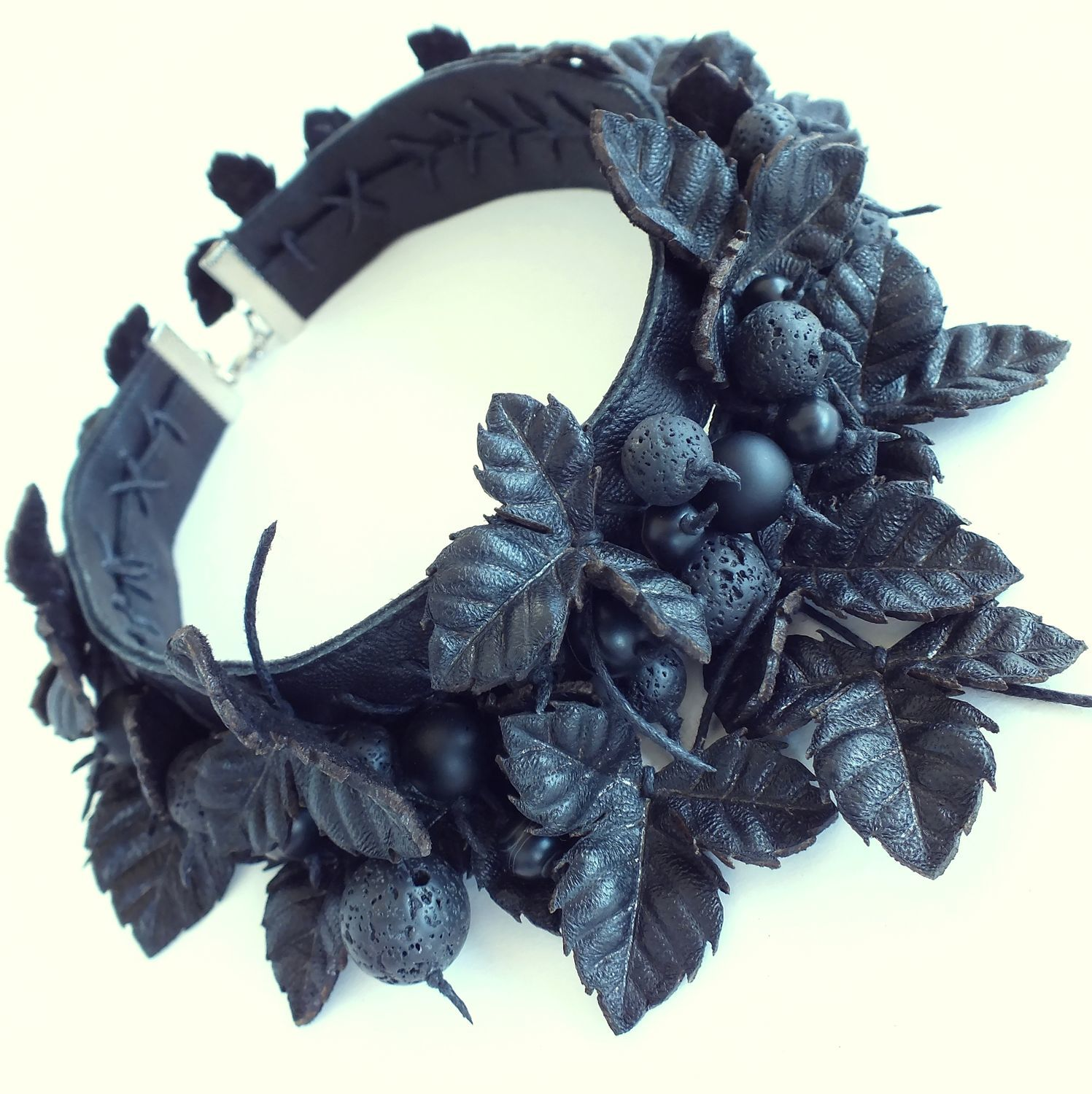 Night Black Berries. Necklace made of genuine leather, Necklace, St. Petersburg,  Фото №1
