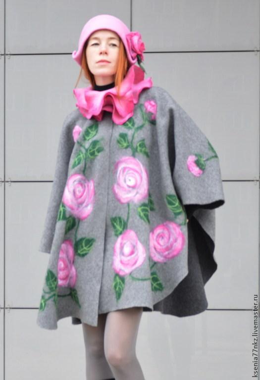 """Верхняя одежда ручной работы. Ярмарка Мастеров - ручная работа. Купить Пальто- кейп """"Аромат розы"""". Handmade. Серый, манто"""