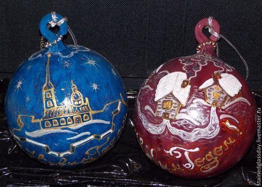 Новогодние елочные шары Зимние домики Диаметр: 12 см Роспись по стеклу художник Екатерина Макарова